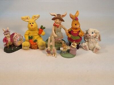 Whimsical Resin Easter Bunny Lot. Easter Decorations. Bunnies