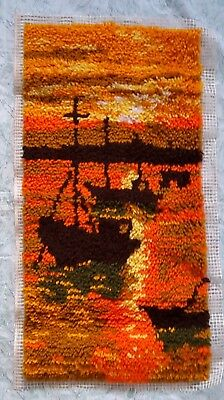 Vintage Hand Made latch hook Rug Boats in the Sunset Complete without binding