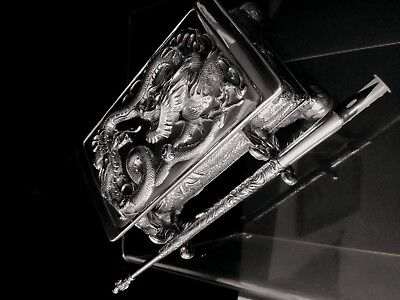 Chinese export silver 3D  Dragon Inkwell set dragon dip pen Was $5000