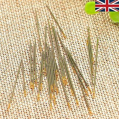 UK STOCK 30 In 1 Case Assorted Hand Sewing Needles Gold Eye Craft Repair Mending