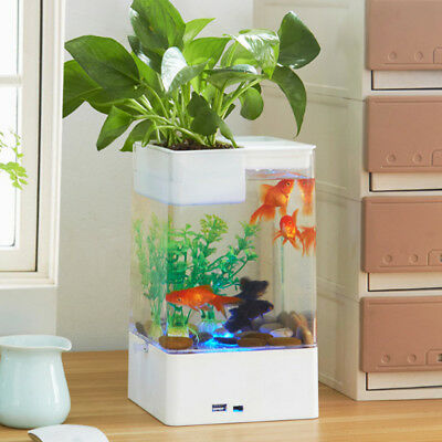 LED Fish Tank Small Aquarium Desktop Kids Goldfish Bowl with Plants H303HC
