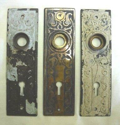 Antique Cast Iron Back Plates Set of 3 Matching