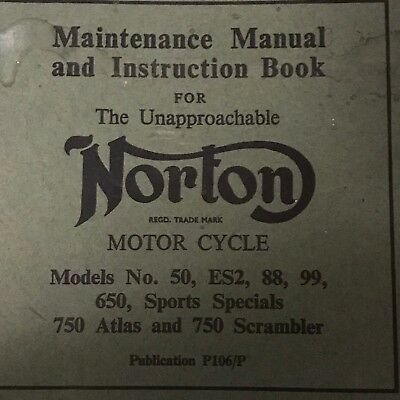 Vintage NORTON MOTORCYCLE Maintenance Manual 750 Atlas & Scrambler