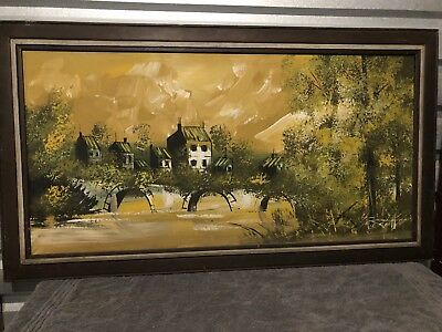 Large Antique  Oil Painting On Canvas Frame Not Included