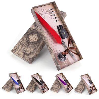 Feather Writing Fountain Caligraphy Dip Pen Quill Ink Bottle 5 Nibs Box Set Gift
