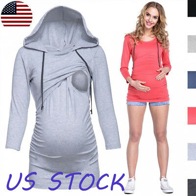 Pregnant Womens Maternity Hoodie Sweater Nursing Casual Tops Long Sleeve Blouses