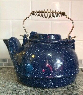 Vintage Blue and White Speckled Enameled Cast Iron Tea Pot