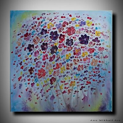 Abstract Oil Knife Palette Flowers Impasto Gallery Canvas Original Ann Mikhail