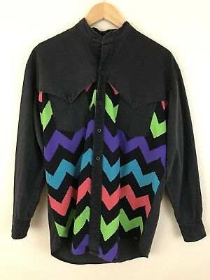 Vintage Karman 80s 90s Neon Color Block Long Sleeve Western Mens Sz Med Made USA