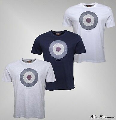d79897431 Mens Ben Sherman Printed Check Target Top Crew Neck T-Shirt Sizes from S to