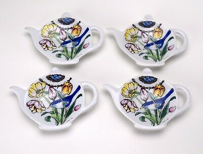 Santa Barbara Ceramic Design SBCD Spoon Tea Bag Rests Set 4 Blue Birds Nest