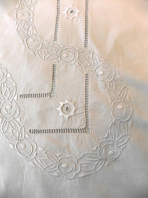 Sheet lin 2m23 x 3m30 art-déco 1930 wide embroidery and returns on 1m00