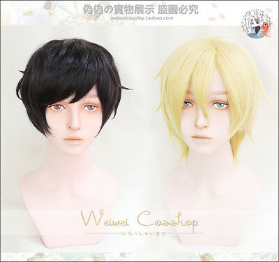 BANANA FISH Ash Lynx Short Soft Blonde Eiji Okumura Black Cosplay Hair Wig + Cap