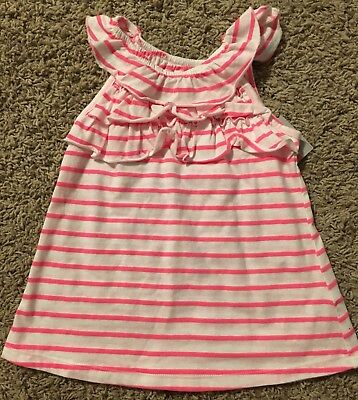 NEW- Carters Girls Pink & White Striped Tank Top Shirt-Size 3T