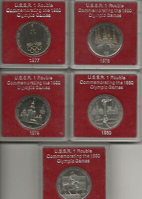 Russia Ussr - 1 Rouble Prooflike Coins X5 1977 78 79 80 X2  Olympic In Red Case