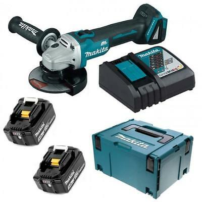 Makita Dga506Rtj 18V Lxt Brushless Angle Grinder 2 X 5.0Ah Dc18Rc In Makpac