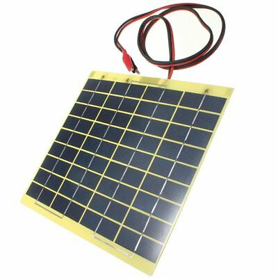 12V 5W Solar Panel & Clips For Car Home Camping Boat Battery Charger I7X7