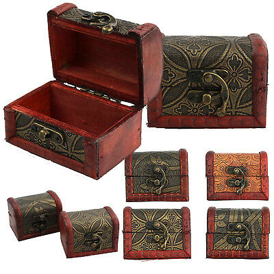 1 x Antique Small Wooden Trinket Box Vintage Egyptian Colonial Treasure Chests Y