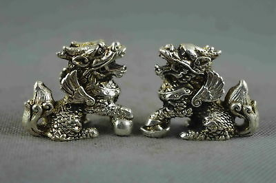 Collectable Handwork Decor Miao Silver Carve Roar Kylin Wealthy Exorcism Statue
