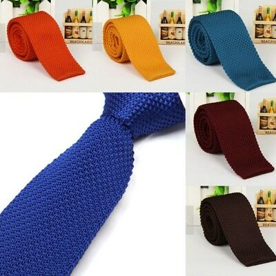 Mens Knitted Tie Fashion Casual Solid Necktie Knit Woven Silk Narrow Slim Skinny