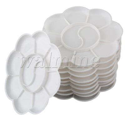 Round Watercolor Plastic Palette Tray Mixing Palette Set of 10 White