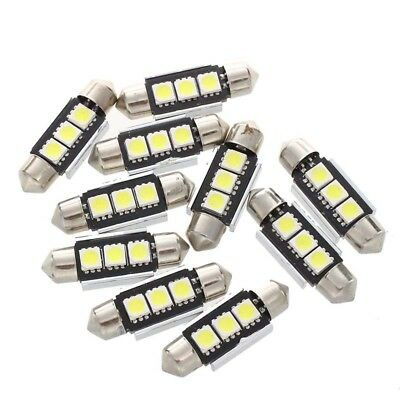 10X 36Mm Ampoule Lampe 3 Led 5050 Smd Blanc Voiture Dome Canbus G8F6