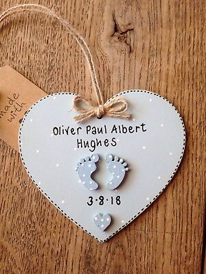 Personalised New Born Baby Boy Gift Keepsake Plaque Sign Birth Present