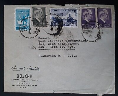 RARE 1946 Turkey ILGI Commercial Cover ties 5 stamps canc Istanbul