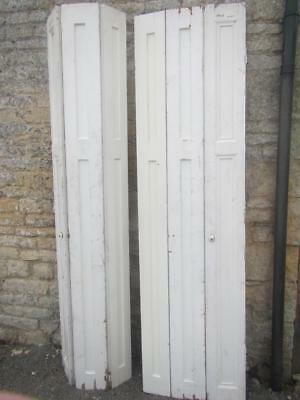 VINTAGE WOODEN FRENCH  WINDOW SHUTTERS Bi Folding PAIR 233cm tall RECLAIMED