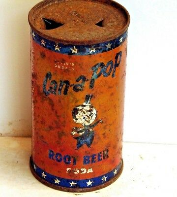 Can-a-Pop Root Beer; Peoria, IL; solid top / flat top steel soda Pop Can