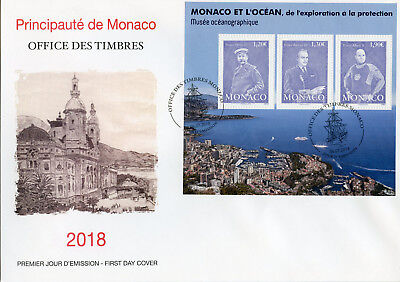 Monaco 2018 FDC Ocean Exploration Protection 3v M/S Cover Royalty Museums Stamps
