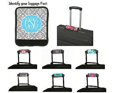 Personalized Luggage Handle Wrap Vacation Luggage Identify Finder Gray Damask