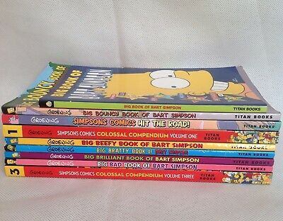 Simpsons Comic Book Bundle Simpson Job lot 9 Books Including Colossal Compendium