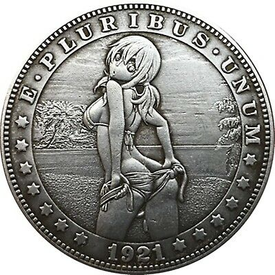 Hobo Nickel  1921-D USA Morgan Dollar Teasing Girl COIN