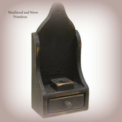 Primitive Country Black Distressed Wood Wall Sconce Candle Holder W Drawer 11.5