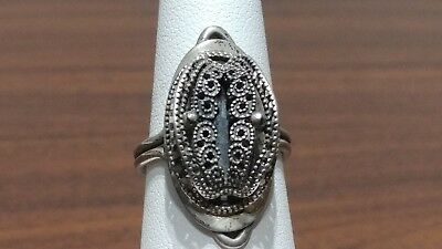 Antique Sterling Silver Egyptian Revival Flower Ring Signed BLAD