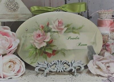 """""""Powder Room..."""" Vintage ~ Shabby Chic Country Cottage style - Wall Decor Sign"""