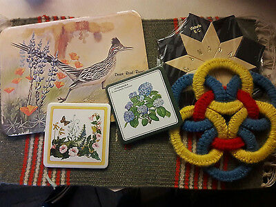 Lot of 6 Vintage Trivet Hot Pads and coasters, Canada, Road Runner, Rug-Like