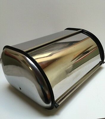 Vintage Large Stainless  Steel Bread Box Mid Century Modern Roll Top