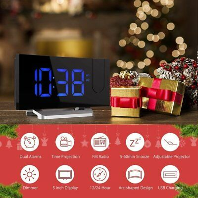 MPOW Projection Digital Weather LCD Snooze Alarm Clock Display w/ LED Backlight