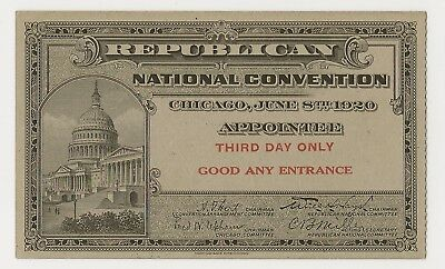 1920 REPUBLICAN CONVENTION - CHICAGO - APPOINTEE - U.S. CAPITOL - 3rd DAY!