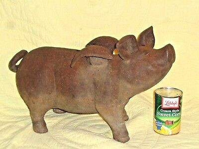 Antique Cast Iron Piggy Bank Flying Pig Large Old Pig Cast Iron Doorstop 29 Lbs