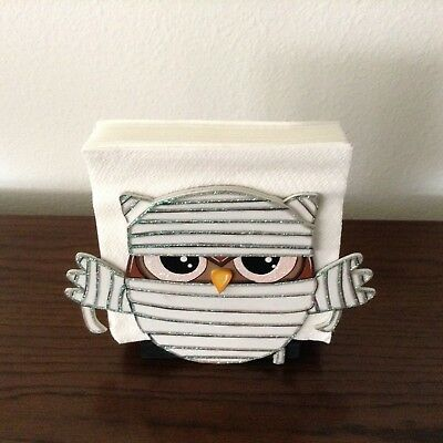 2 of 4 hp hand painted wooden halloween mummy owlfranky owl napkin holder day death
