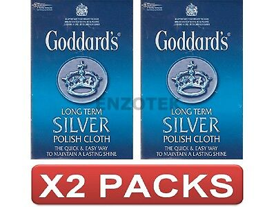 Goddards Long Term Silver Polish Cloth All Cotton Maintains Lasting Shine 2 Pack