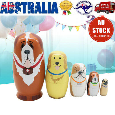 5Pcs/set Wooden Dolls Russian Nesting  Adorable Puppy Dog Hand Painted Toys New
