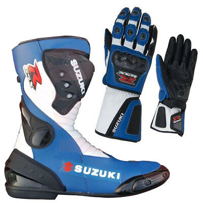 Suzuki GSXR Custom Motorbike Leather Racing Shoes Motorcycle Leather Gloves Moto
