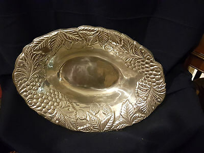 OVER-SIZED SPIEGAL ALUMINUM SERVING DISH/BOWL w/ grapes, strawberries, leaves