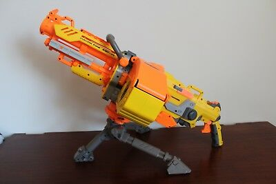 Nerf N-Strike Havok Fire Vulcan EBF-25 Gun Blaster, Ammo Belt, Stand, Working