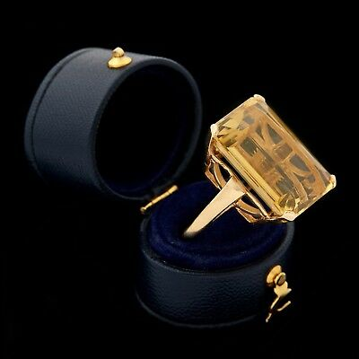 Antique Vintage Art Deco Retro 14k Gold Emerald Cut 28.19 Ct Citrine Ring Sz 6.5