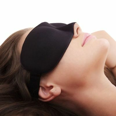 Neoprene Sleep Mask For Travel or Home Form Fitted For Comfort With Ear Plugs